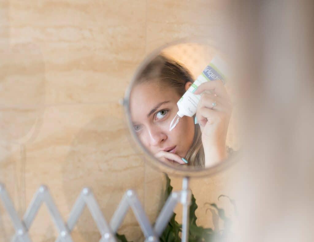 Applying cream Cosmetics